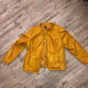 Mustard yellow fall/winter moto 2x faux leather